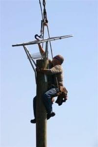 Erecting Osprey nest on Lake Norman